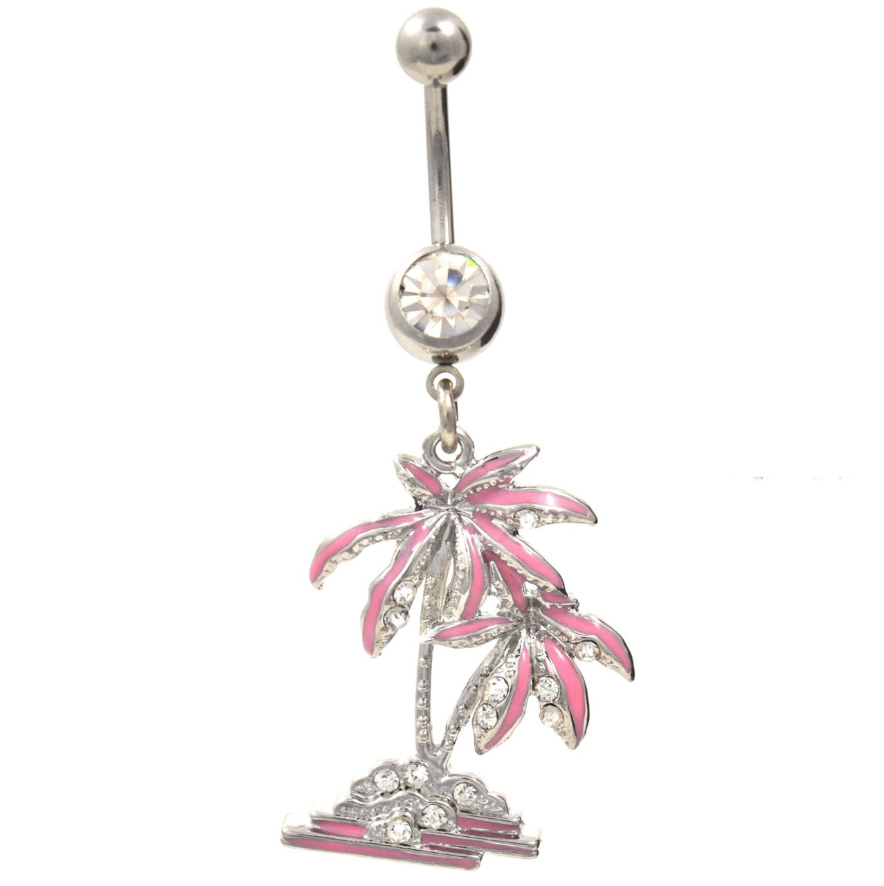 Pink Tropical Tree Dangling Belly Ring