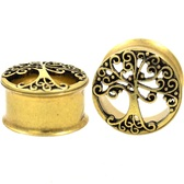 "Tree Of Life Brushed IP Steel Tunnels (0g-1"")"