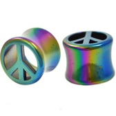 "Rainbow Coated Acrylic Peace Sign Plugs (00g-13/16"")"