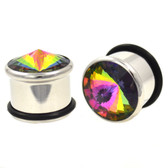"Rainbow Aurora CZ Single Flared Steel Plugs (2g-5/8"")"