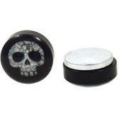 Skull Made of Flowers Magnetic Fake Plug Earrings