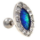 Opal & Gem Paved Oval Cartilage Stud 18g 1/4""
