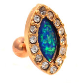 Opal & Gem Paved Oval Rose Gold Cartilage Stud 18g 1/4""