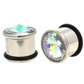 "Blue Tint Aurora CZ Single Flared Steel Plugs (2g-5/8"")"