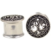 "Ornate Tree Of Life Double Flared Tunnels (2g-1"")"