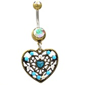 Vintage Filigree Heart Turquoise/AB Belly Ring