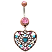Vintage Filigree Heart Turquoise/Pink Belly Ring