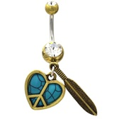 Turquoise Peace Sign Heart & Feather Belly Ring