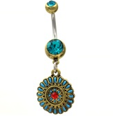 Brass Color Crown Chakra Dangle Belly Ring