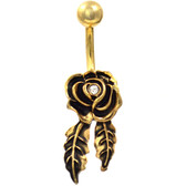 Gold Rosebud & Leaves Non-Dangle Belly Ring