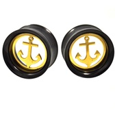 "Removable Anchor Black & Gold Steel Tunnels (00g-1"")"