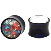 "Multi-Color Crystal Filled Acrylic Saddle Plugs (0g-5/8"")"