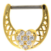 CZ Dazzled Heart Gold Nipple Clicker 14g 1/2""