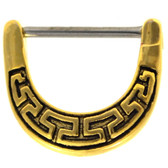 Tribal Maze Gold-Tone Nipple Clicker (16g/14g)