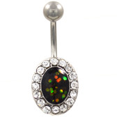 Crystal Framed Opalescent Green Center Belly Ring