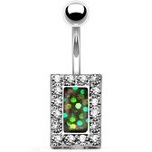 Crystal Framed Green Square Center Belly Ring