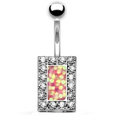 Crystal Framed Pink Square Center Belly Ring