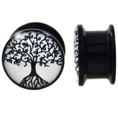 "Black White Tree Of Life Acrylic Screw Plugs (6g-5/8"")"