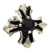 Black Gem Iron Cross Cartilage Earring 16g 1/4""