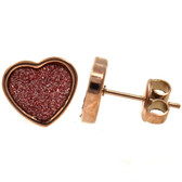 Rose Gold IP Sandy Glitter Heart Stud Earrings