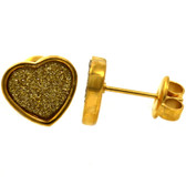 Gold IP Sandy Glitter Heart Stud Earrings