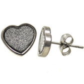 Stainless Steel Sandy Glitter Heart Stud Earrings