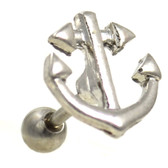 Shiny Steel Anchor Cartilage Earring 16g 1/4""