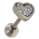 Sand Glitter Heart Cartilage Earring 16g 1/4""