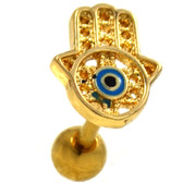 Gold Hamsa Hand Eye Cartilage Earring 16g 1/4""