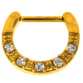 Gold 5-Gem Clear CZ Septum Clicker 100% 316L