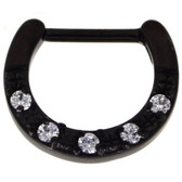 Black 5-Gem Clear CZ Septum Clicker 100% 316L