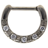 5-Gem Clear CZ Septum Clicker 100% 316L Steel