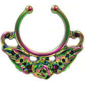Rainbow Rose Flower Fake Septum Hanger 100% 316L