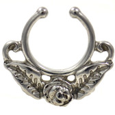 Rose Flower Fake Septum Hanger 100% 316L Steel