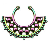 Unique Rainbow Beaded Fake Septum Hanger