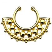 Unique Gold Beaded Fake Septum Hanger