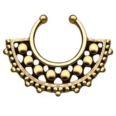 Unique Antique Brass Beaded Fake Septum Hanger