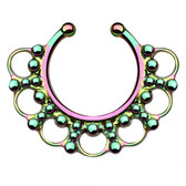 Ornate Tribal Style Rainbow Fake Septum Hanger