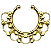 Ornate Tribal Style Gold Fake Septum Hanger