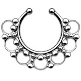 Ornate Tribal Style Fake Septum Hanger 100% Steel