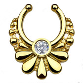 Gold Floral Crystal Fake Septum Hanger Ring