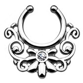 Steel Floral Tribal Bling Fake Septum Hanger Ring