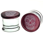 "Maroon Sugar Skull Pyrex Glass Plugs (2g-5/8"")"