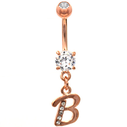 Initial Letter B Gemmed Rose Gold Belly Button Ring BodyDazzcom