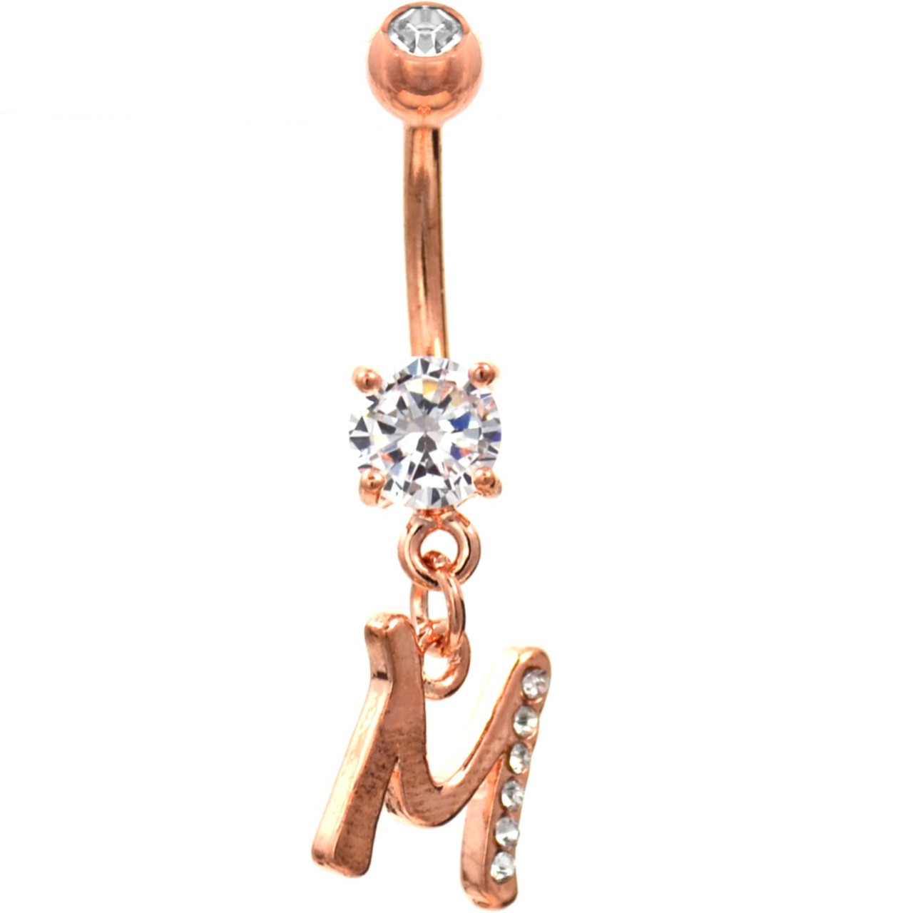 Initial Letter M Gemmed Rose Gold Belly Button Ring