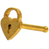Heart Padlock Gold IP Nose Ring Stud 20G