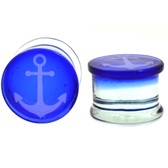 "Anchor Logo Blue Pyrex Glass Plugs (2g-5/8"")"
