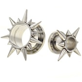 "Multi Length Spike Rim Steel Tunnels (0g-5/8"")"