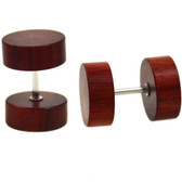 Red Cherry Wood Fake Plug Earrings (00g Look)