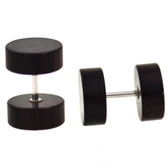 Ebony Color Wood Fake Plug Earrings (00g Look)